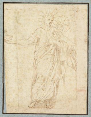 Antiguo sacerdote con una copa y un caduceo