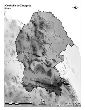 Mapa mudo de montañas de Coahuila de Zaragoza. INEGI de México