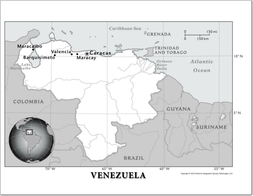 Mapa de ríos de Venezuela. National Geographic