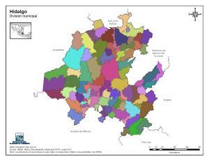 Mapa mudo de municipios de Hidalgo. INEGI de México