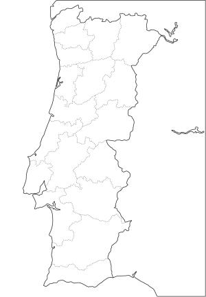 Mapa de distritos de Portugal. Freemap