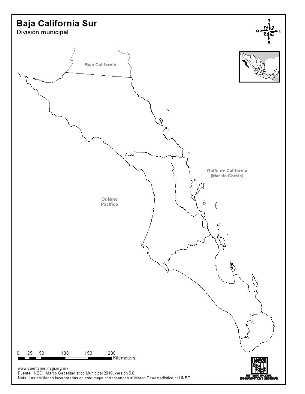 Mapa mudo de municipios de Baja California Sur. INEGI de México