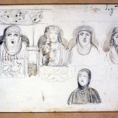 Detalles de los canecillos del pórtico de la iglesia de San Juan de los Caballeros, Segovia