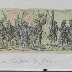 Marcha de soldados con un abanderado en el centro