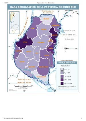 Mapa demográfico de Entre Ríos. Mapoteca de Educ.ar