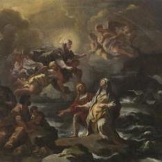 Santa Brígida salvada de un naufragio por la Virgen