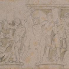 Dos escenas de un capitel de la catedral de San Pedro de Jaca (Huesca)