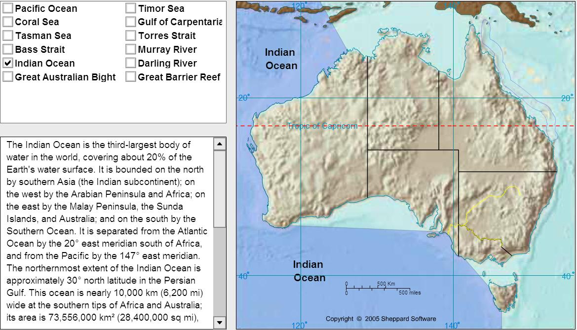 Oceans of Oceania. Tutorial. Sheppard Software