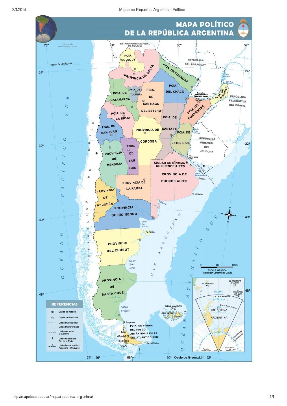 Mapa de provincias de Argentina. Mapoteca de Educ.ar