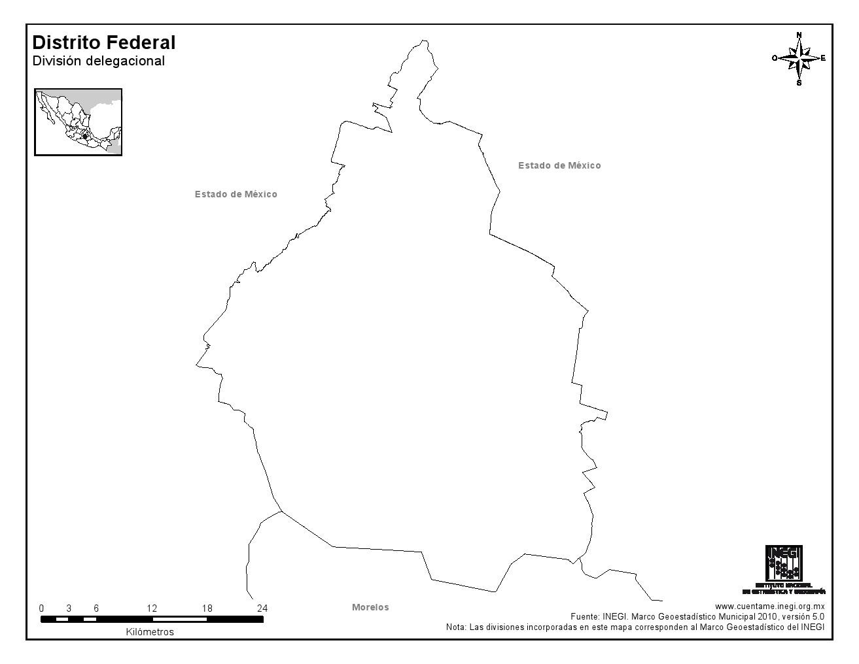 Mapa mudo de Ciudad de México. INEGI de México