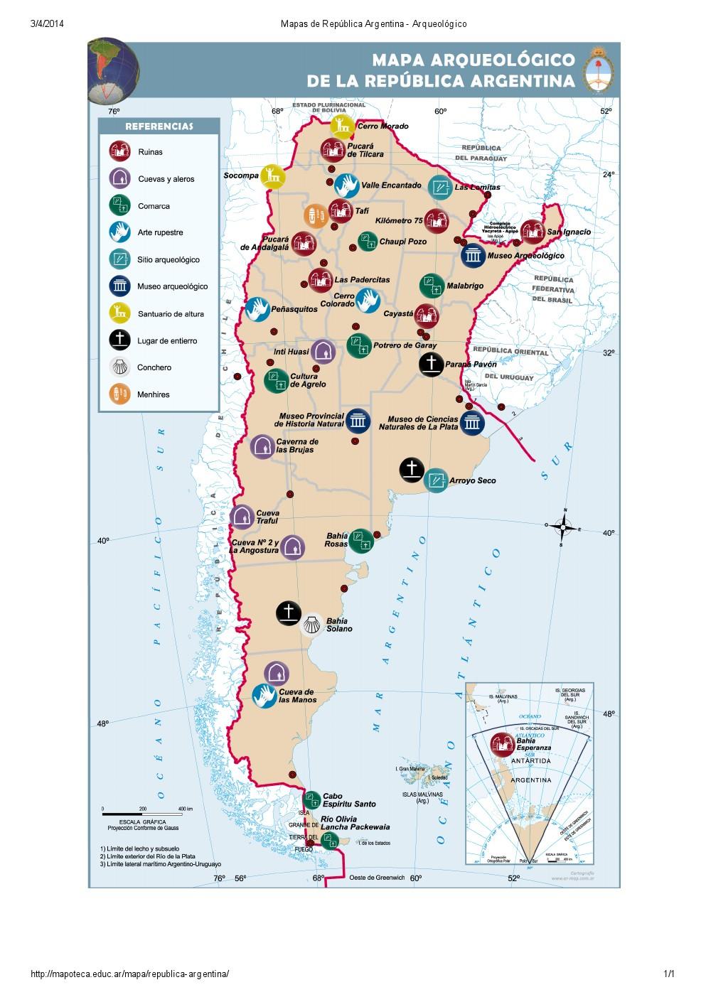 Mapa arqueológico de Argentina. Mapoteca de Educ.ar