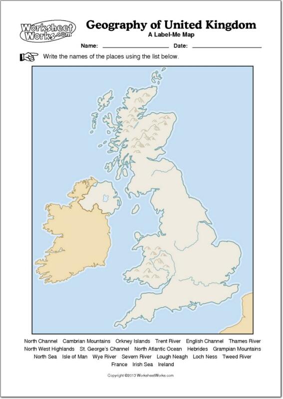 Mapa Físico Mudo De Reino Unido Mapa Mudo De Ríos Y Montañas De Reino Unido Worksheetworks Mapas Interactivos