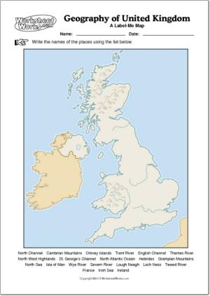Mapa mudo de ríos y montañas de Reino Unido. WorksheetWorks