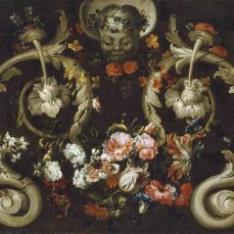 Mascarón con rosas y tulipanes