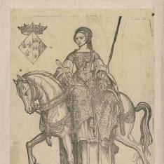 Dama a caballo mirando a la izquierda: Margarita de Vlos?
