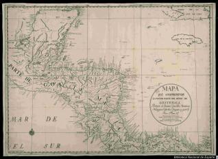 Mapa de Guatemala, Provincias de Yucatan, Vera-Paz, Honduras, Nicaragua, Costa-Rica y Veraguas