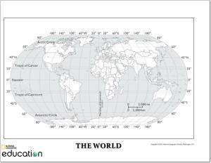 Mapa mudo de continentes y océanos del Mundo. National Geographic