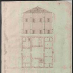Planta y sección de casas