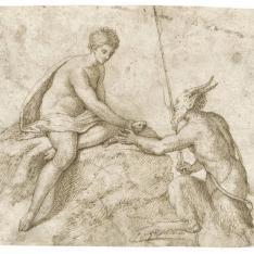 Sátiro con una caña de pescar entregando un pez a una ninfa