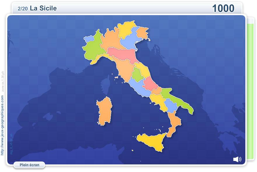 Régions d'Italie. Jeux géographiques