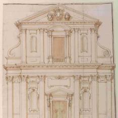 Alzado de la fachada de la iglesia de Santa Maria dei Monti, Roma