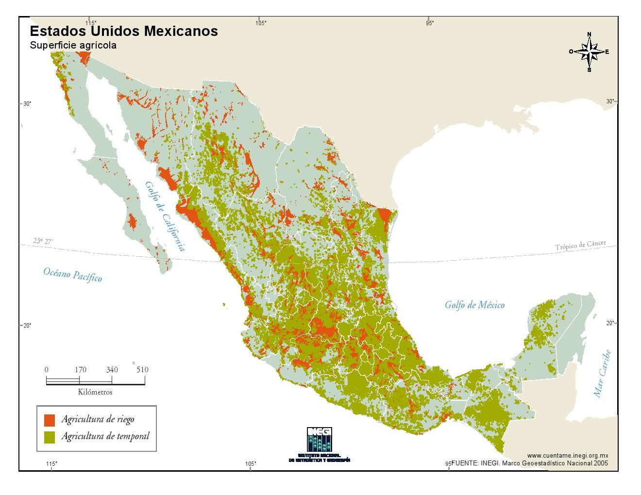 Mapa de superficie agrícola de México. INEGI de México