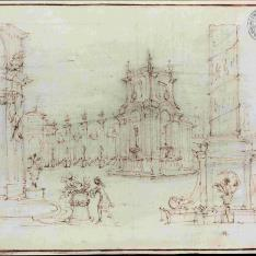 Arquitectura fantástica en una plaza monumental con un personaje que realiza una ofrenda a Venus