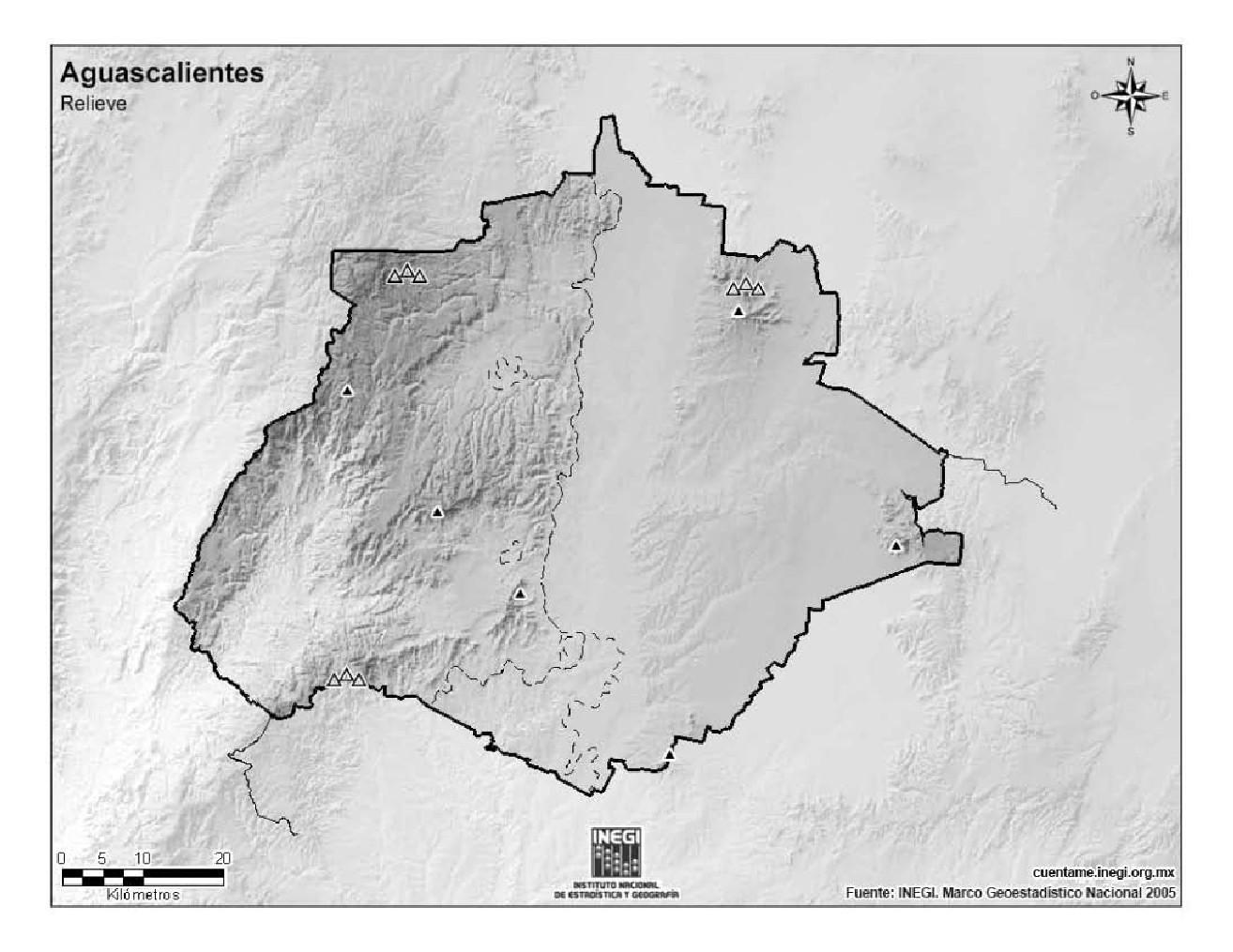 Mapa mudo de montañas de Aguascalientes. INEGI de México