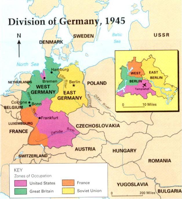 Mapa de Alemania: División alemana en 1945. Learn Europe