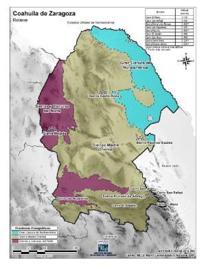 Mapa en color de montañas de Coahuila de Zaragoza. INEGI de México