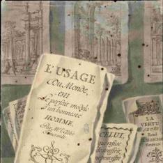 Trampantojo con libros franceses y apuntes arquitectónicos