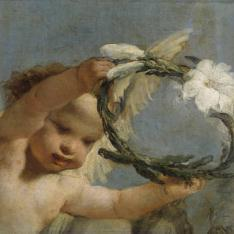 Ángel con corona de azucenas