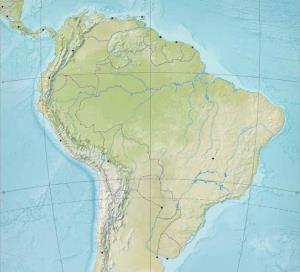 Mapa de ríos y montañas de Sudamérica. Blographos