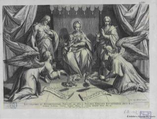 La Virgen sentada en el trono con el Niño y los dos santos Juanes