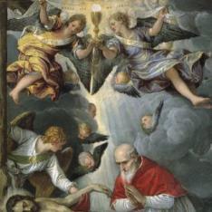 Cristo yacente, adorado por el papa San Pío V