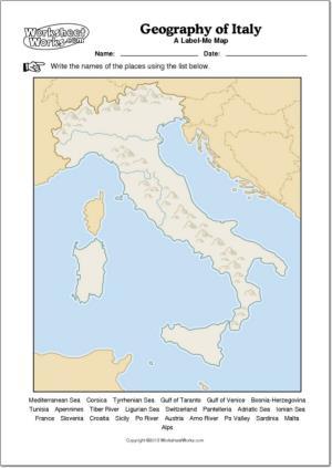 Mapa mudo de ríos y montañas de Italia. WorksheetWorks