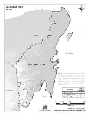 Mapa de montañas de Quintana Roo. INEGI de México