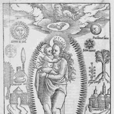 La Virgen con el Niño rodeada de símbolos