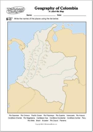 Mapa mudo de ríos y montañas de Colombia. WorksheetWorks