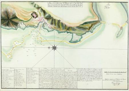 Plano de la Costa entre la Barra del N. del Rio Miño y la Punta de la Laxa del Perro