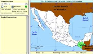 Capitals of Mexico. Intermediate. Sheppard Software