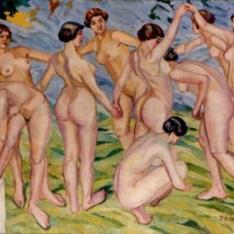 Desnudos. (Mujeres jugando al corro)