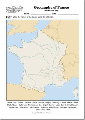 Mapa mudo de ríos y montañas de Francia. WorksheetWorks