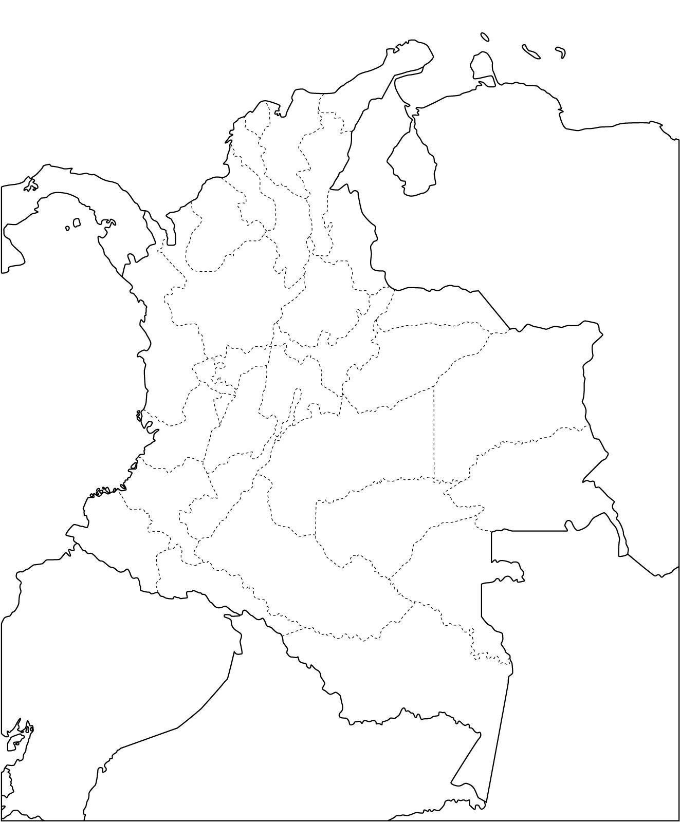Mapa mudo de departamentos de Colombia. Freemap