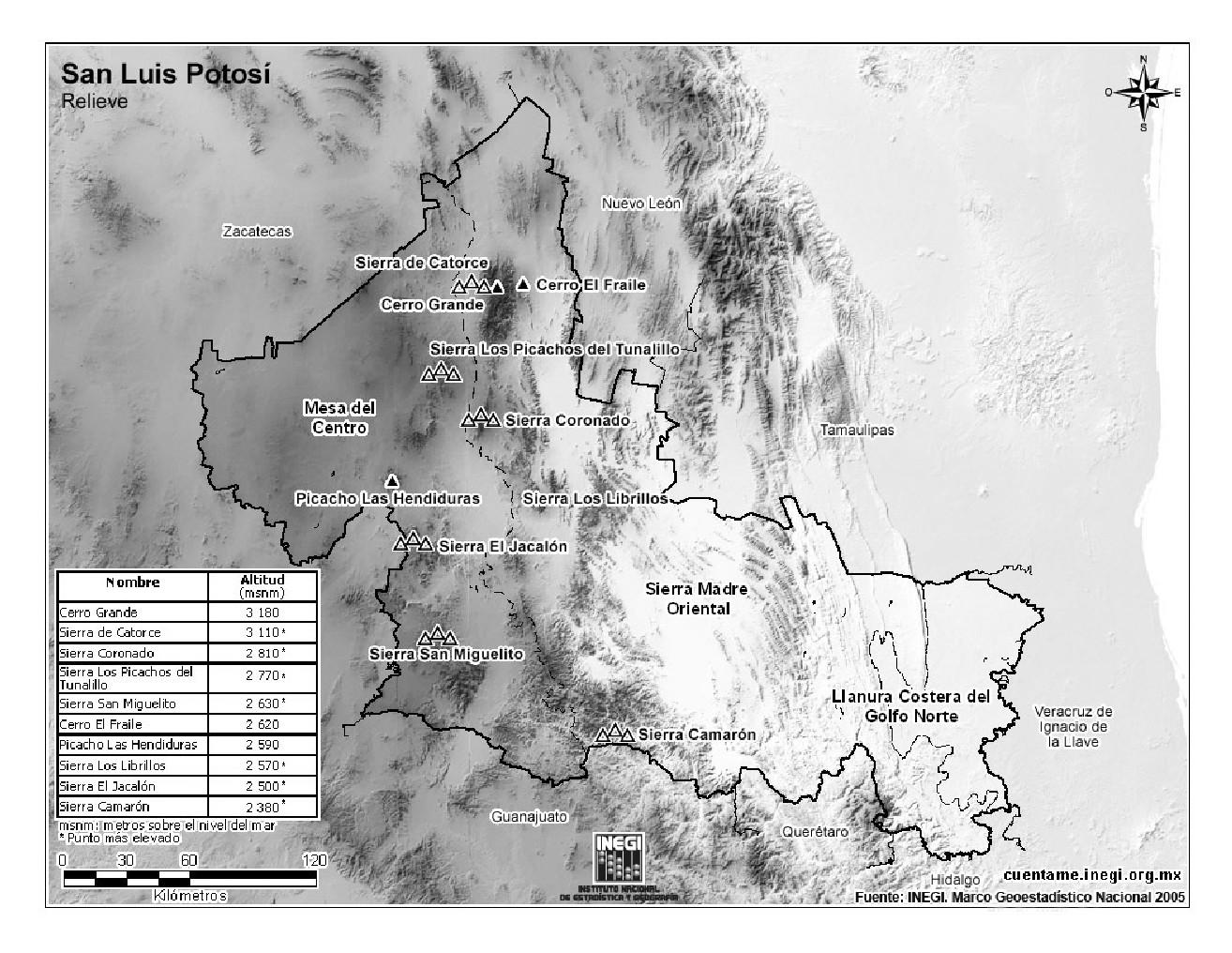 Mapa de montañas de San Luis Potosí. INEGI de México