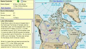 Lakes of Canada. Game. Sheppard Software