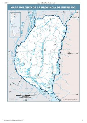 Mapa mudo de capitales de Entre Ríos. Mapoteca de Educ.ar