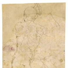 Guerrero desnudo visto desde atrás / Dos estudios de un caballo encabritado