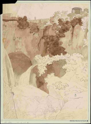 Vista de la cascada y el templo de Vesta en Tívoli