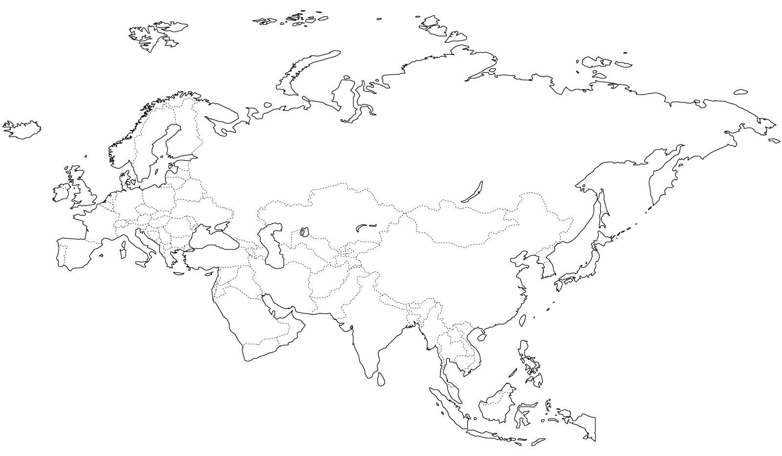 Mapa de países de Eurasia. Freemap